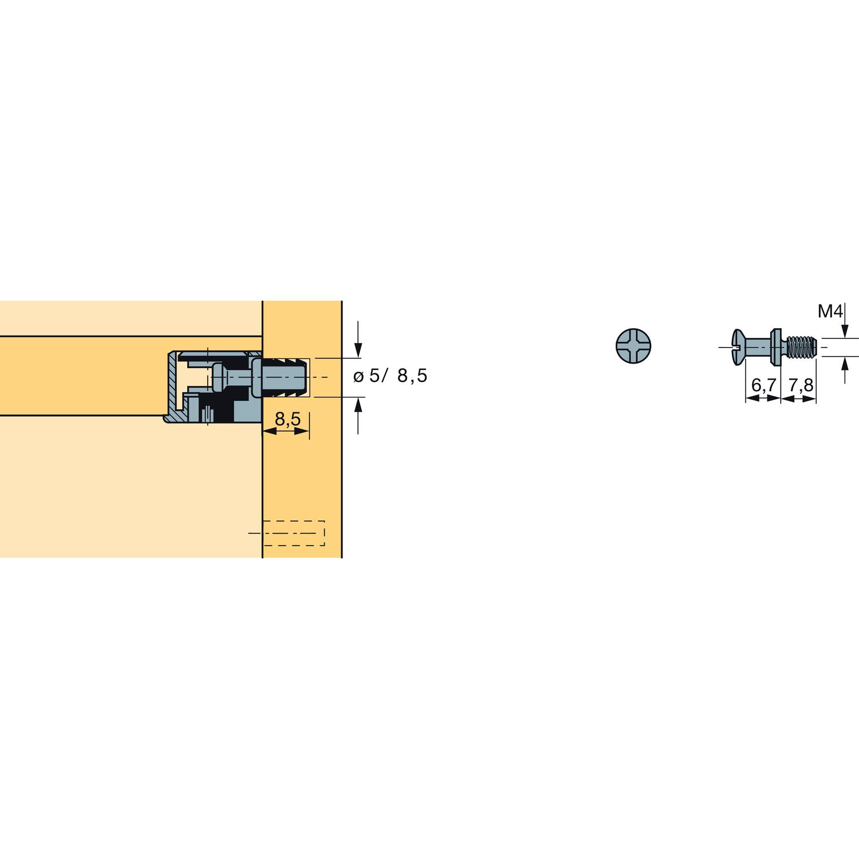 8 x Excenter Verbindungsbeschlag Hettich VB 19 Dübel DU 265