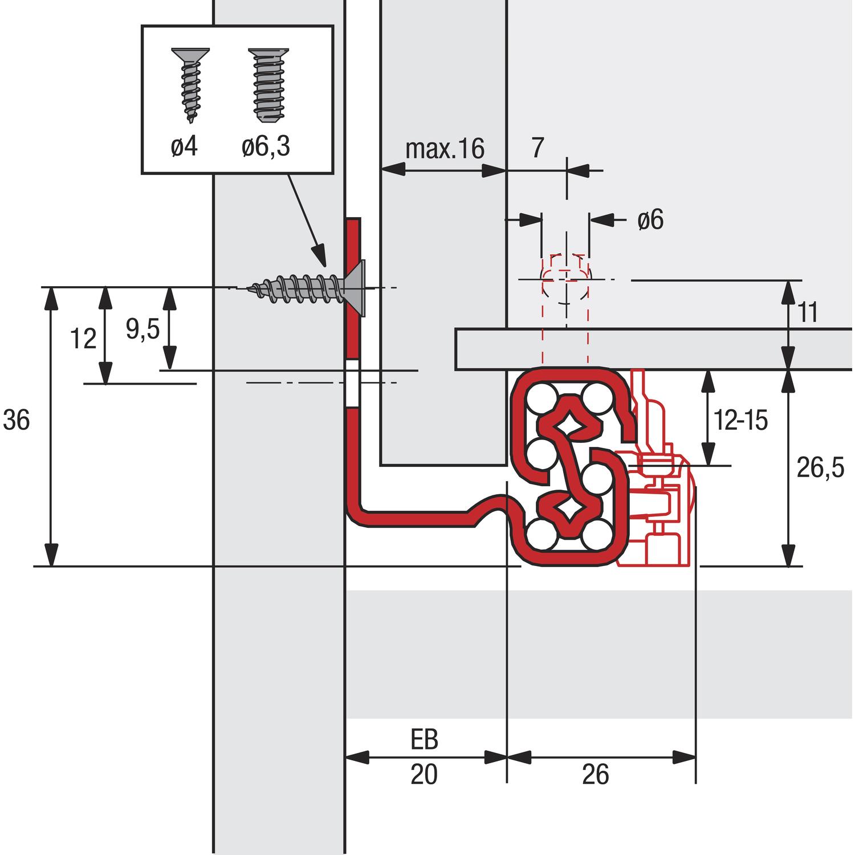 Hettich 9080235 Quadro V6 Silent System Unterbodenf/ührung Nennl/änge 450 mm Vollauszug
