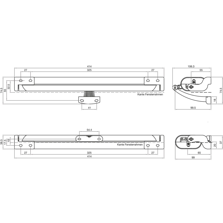 Kettenmotor LIWIN L25 230V Hub 200//250//380 mm weiß RAL9010